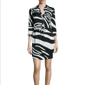 DVF Freya Zebra Print Drawstring Dress